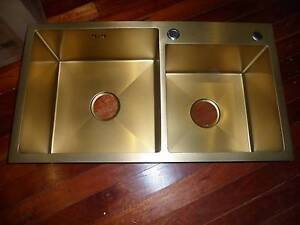 new oliveri italian made double kitchen sink in gold 70 off - Kitchen Sinks Sydney