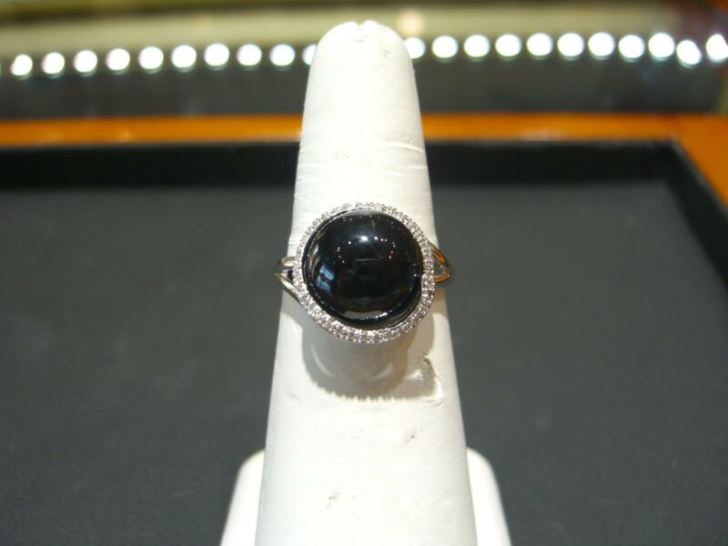 Fine Womens Designer 14 Karat White Gold Diamond, Onyx Ring Size 9.0 New Wow