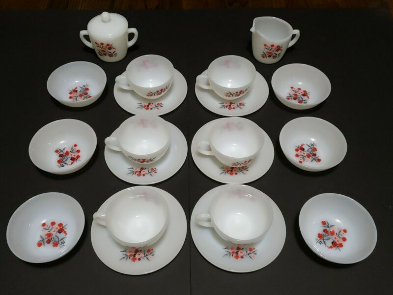 Fire King Milk Glass Coffee Tea Cups White Pink & Red Flowers Vintage 1950s