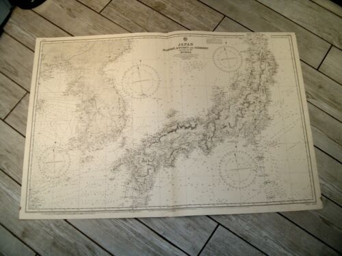 Vintage Admiralty Chart 2347 JAPAN & PART OF KOREA 1914 edn