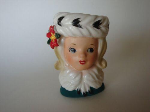 "Vintage NAPCOWARE  Mini Christmas Lady Headvase -  3 "" Tall - NICE!!"
