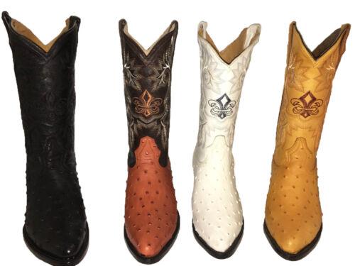 Mens, Cowboy, Boots, Ostrich, Print, Leather, Western, Rodeo, Botas, Liga, de, Avestruz