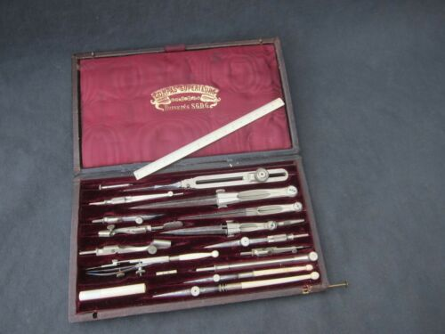 Antique 19th century complete drawing compass Tool Set in box