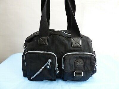 Kipling K13636 900 Defea Black Handbag Canvas Medium Size Casual Satchel
