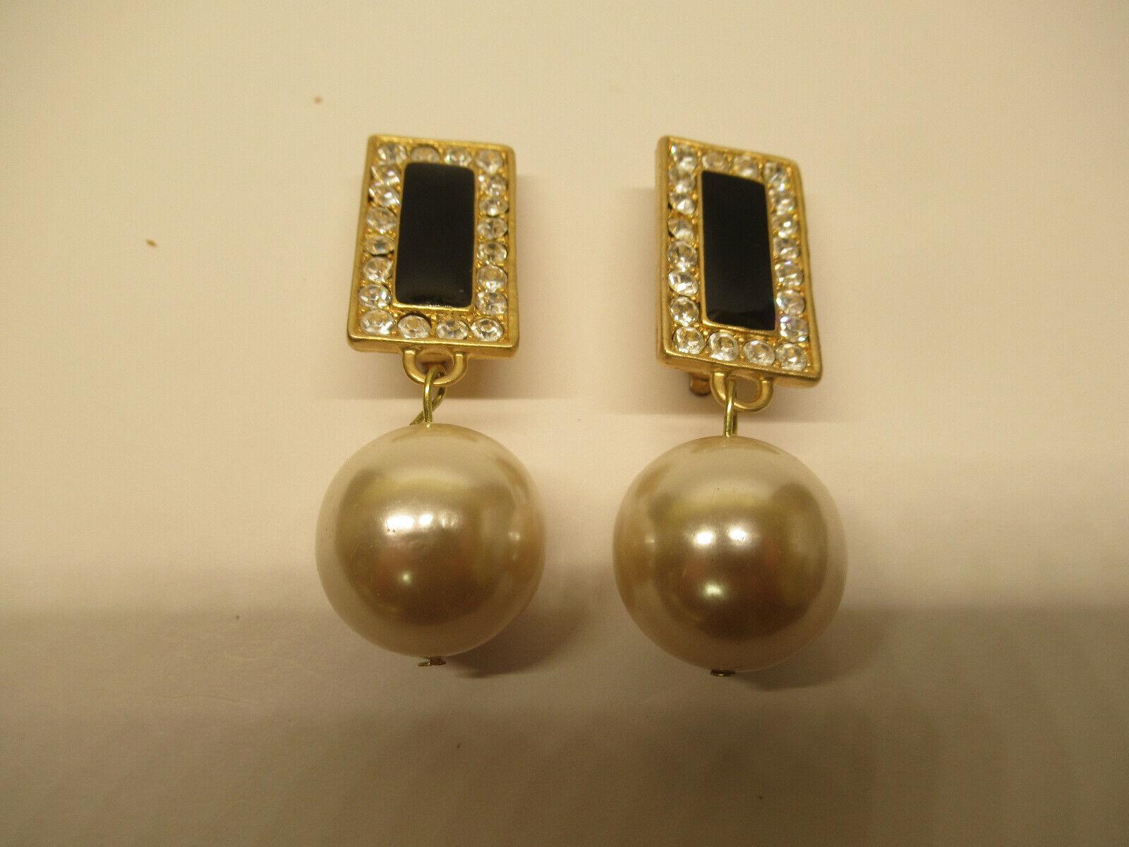 Vintage Large Faux Pearl Black Enamel Rhinestone Dangle Clip Earrings - $9.99