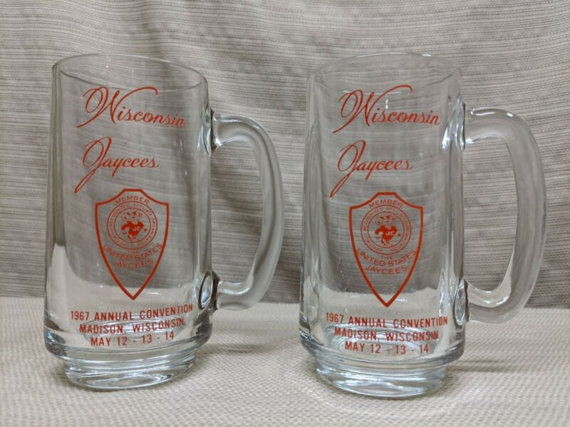 Vtg 1967 Wisconsin Jaycees Madison WI Convention Bucky Badger Beer Glass Mug x2