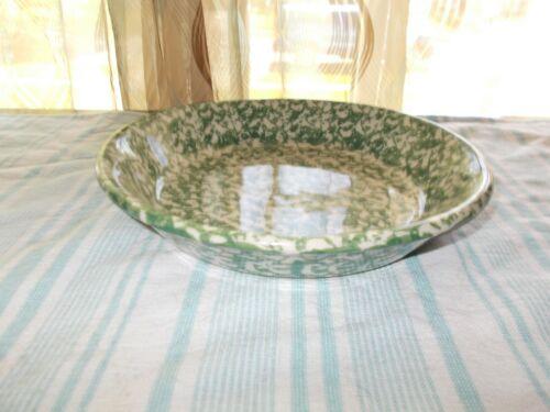 The Workshops of Gerald F Henn SPONGEWARE Pottery Green Pie Dinner Plate Bowl