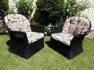 Pair~LARGE~Hampton~Style~Natural~Cane~Armchair~Chairs Cessnock Cessnock Area Preview