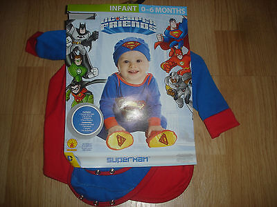 NEW DC Super Friends SuperMan Halloween Costume infant boy's 0-6m months Rubies - Baby Boy Superman Halloween Costumes