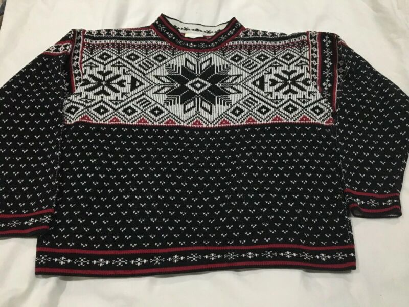 Boys Hanna Andersson Black Nordic Fair Isle Pullover Sweater Cotton 150 Holiday