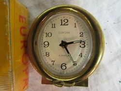 Europa Vintage Travel Alarm Clock gold tone metal desk 2 jewels works small