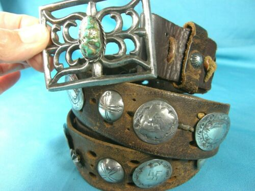 *RARE* Antq Navajo COIN SILVER~STAMPED CONCHOS & Tufa Cast GREEN TURQUOISE Belt