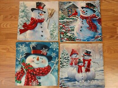 18 x 18 Square Throw Pillow Covers ~ Snowman ~ Set of 4