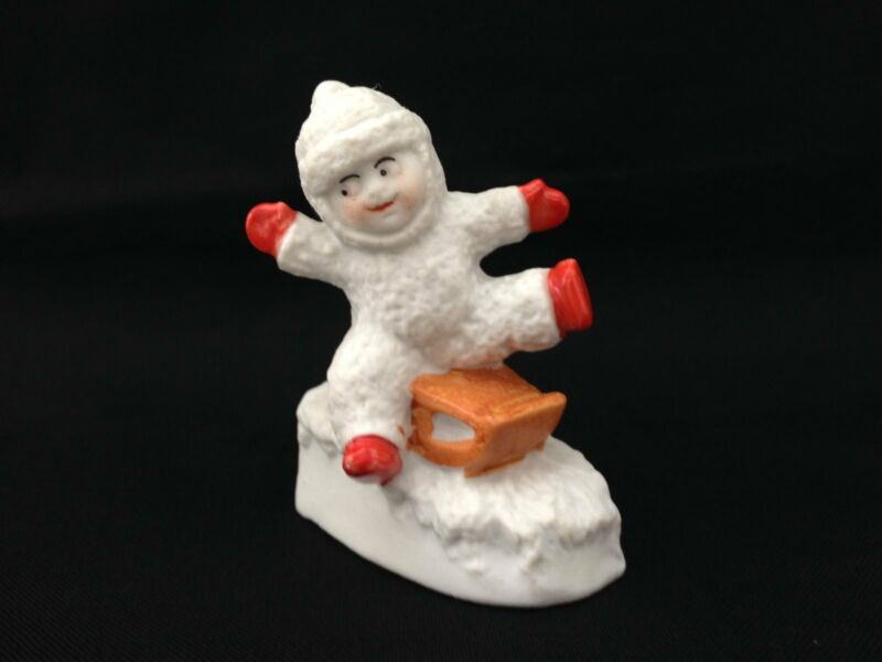 Vintage Bisque Snowbaby on Sled Germany Old Rare Marked
