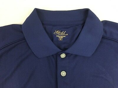 Gold Tri Mountain M Navy Blue Mens Polo Golf Shirt Wth Embroidered Boston Patch