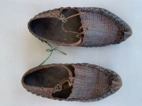 Sami Scandinavian antique children leather shoes moccasins