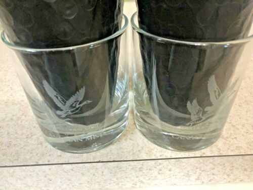 2-Canadian Mist Collectible Wildlife Series Etched Geese Rocks Cocktail Glasses