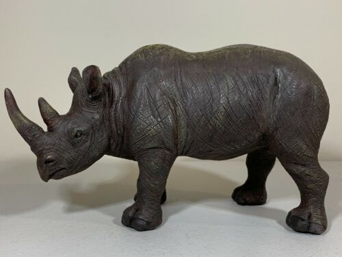 "Collectible 8.5"" Metal Carved Black Rhinoceros Figurine - Rhino Patina"