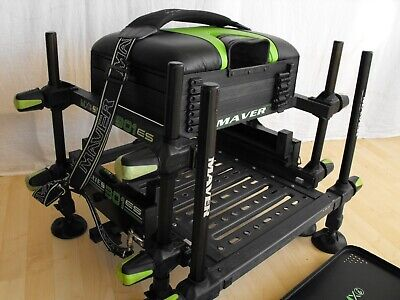 MAVER MXi SERIES 301 ES SEATBOX + SIDE TRAY match carp pole fishing VGC