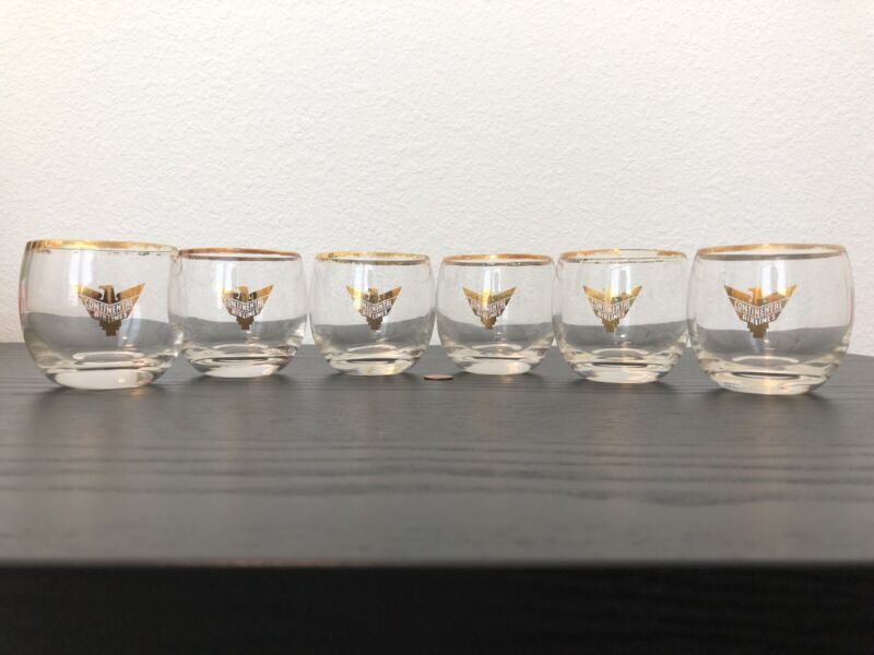 Vintage 40s-50s Continental Airlines Eagle Gold Accent Logo Rim Glass RARE LOT 3