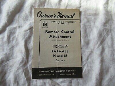Ih Farmall H M Remote Control Attachments Installation Instruction Manual