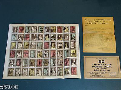 1937 Great Britain King George VI Eliz Coronation 60 Stamp Sheet w/ Env & Insert