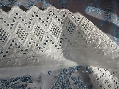 "Antique Eyelet Lace Trim 4""Wide x2Yards For Petticoat, Doll Dress, Pillow,Crafts"