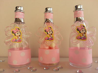 12 Minnie Mouse Fillable Champagne Bottles Baby Shower Favors Game Birthday - Minnie Mouse Birthday Games