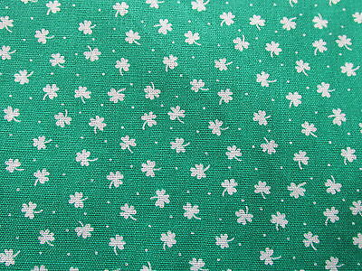 Vtg 80s cotton fabric green Shamrock clover St. Patricks Day doll clothes BTHY