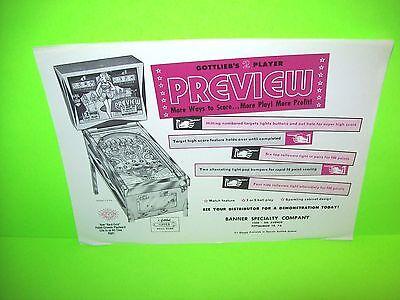 Gottlieb PREVIEW Original 1962 Flipper Game Pinball Machine Promo Sales Flyer