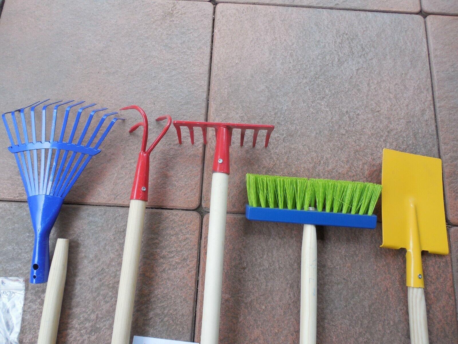 5 Gartengeräte für Kinder Metall Harke Rechen Spaten Grubber und Besen (W 14)