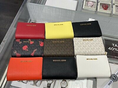 NWT Michael Kors Jet Set Travel  MD Leather Bifold Zip Coin Wallet Multy Color
