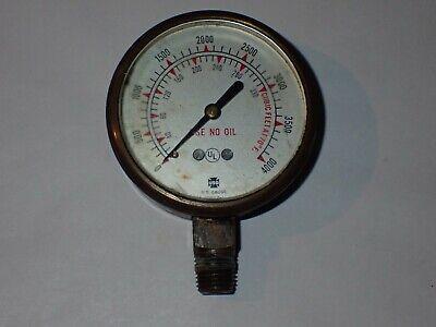 Vintage Amertek Usg U.s. Pressure Gauge Brass Glass