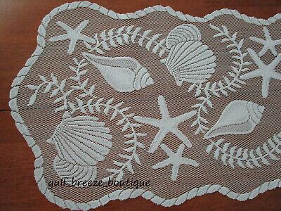 "Heritage Lace White Table Runner Seashells Rope Coastal Nautical 14"" X 40"" EUC"