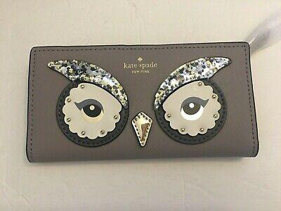 kate spade owl stacy star bright slim wallet