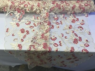 Decorator Fabric By Color - Floral Fabric - Multi-Color By The Yard Embroidered Lace Mesh Dress - Decoration