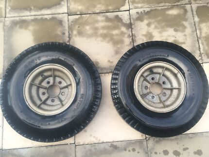 """Galvanised 9"""" boat wheels with tyres"""