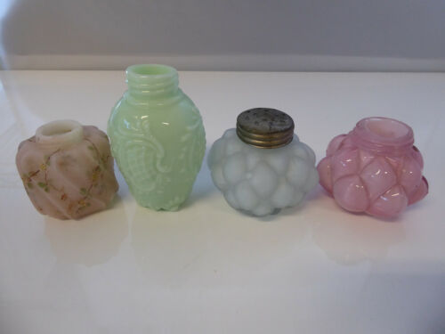 Lot of 4 EAPG Misc Antique Salt Shakers Missing Lids on 3