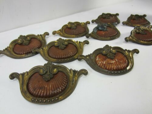 9 Art Deco Ornate Celluloid Center Brass Waterfall Drawer Pulls #714