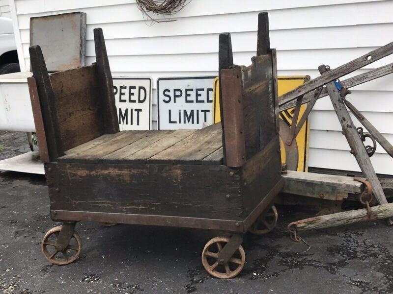 Vintage Antique Industrial GE Factory Cart Original condition