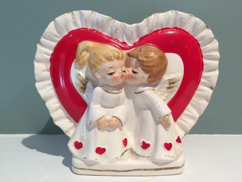Vintage Lefton Valentine Heart Kissing Angels Planter