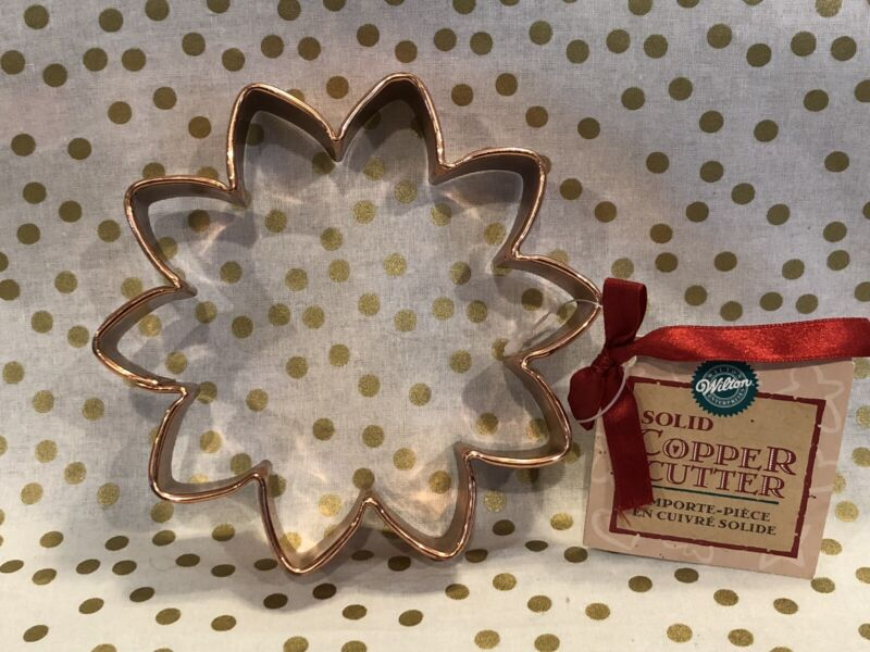 "Solid Copper Cookie Cutter Star Flower Large 5.5"" Wilton NWT"