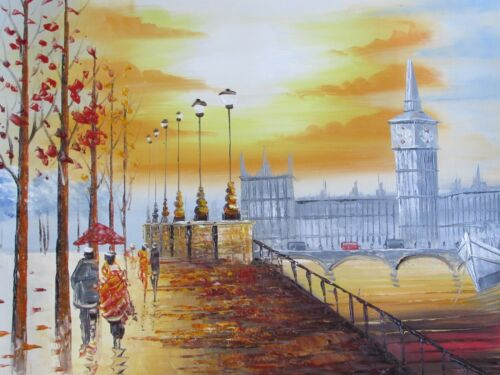 colorful+london+large+oil+painting+canvas+contemporary+cityscape+original+art