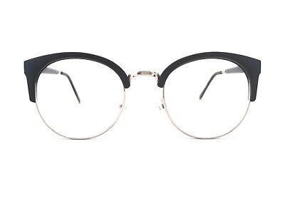 Brille Nerd Rund Halbrahmen Schwarz Silber 50er 60er 70er Retro Klarglas fab118