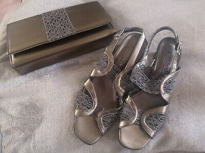 Zodiaco shoes And Matching Bag, pewter sling backs size 40