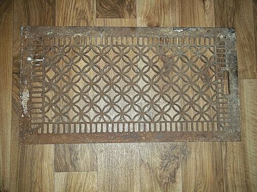 Vintage Cast Iron 14 x 26 Ornate Wall Floor Heating Vent Register GRATE