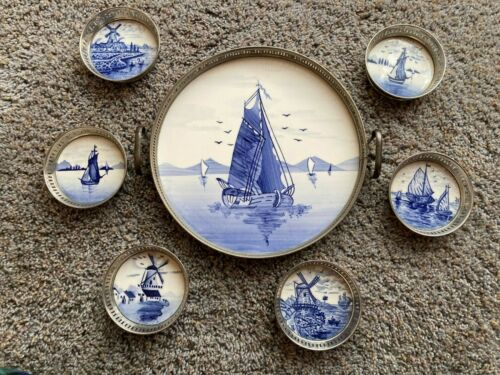 ANTIQUE GERMANY DELFT 2 HANDLE PORCELAIN TRAY & 6 COASTERS BLUE & WHITE SHIPS
