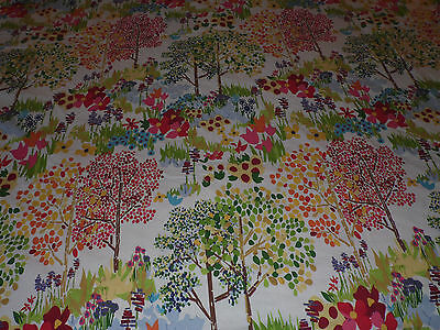 POTTERY BARN WOODLANDS FLORAL RED/YELLOW BLUE/ORANGE 2PC FULL/QUEEN DUVET SET