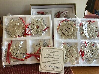 LENOX A VISIT FROM ST. NICHOLAS SNOWFLAKE ORNAMENT SET OF 12 NEW IN BOX WITH COA
