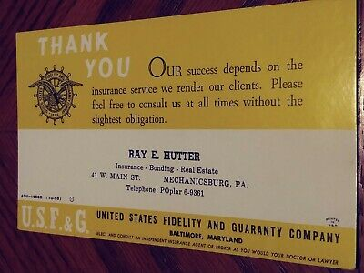 Vintage INK BLOTTER AD card Ray E. Hutter Insurance, Bonding, Real Estate 1955